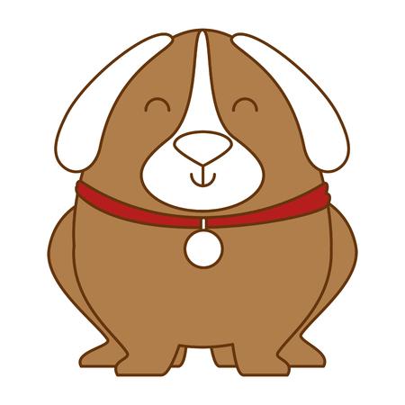 Cute dog with dog collar illustration design.