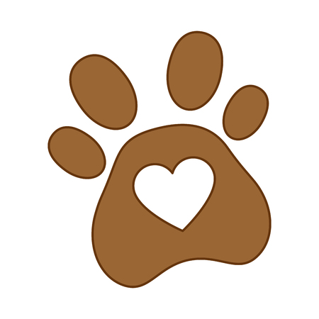 Dog footprint with heart vector illustration design.