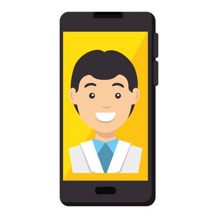 Smartphone device with doctor avatar vector illustration design. Illustration