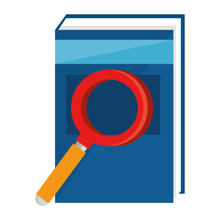 Text book with magnifying glass vector illustration design.