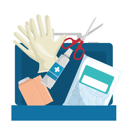 Medical kit with bandages and gloves vector illustration design. Иллюстрация