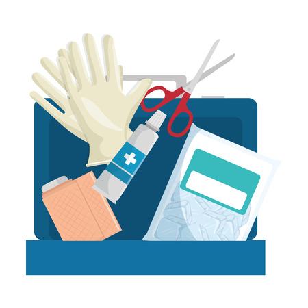 Medical kit with bandages and gloves vector illustration design. Illustration