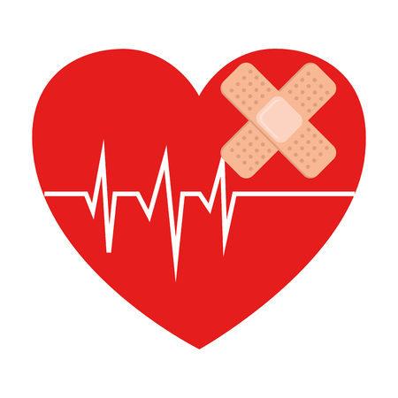 heart cardio with bandage vector illustration design