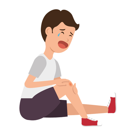 boy with the scraped knee vector illustration design