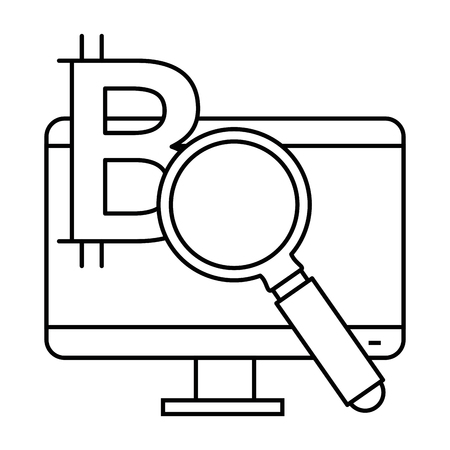 monitor computer with magnifying glass and bitcoin symbol vector illustration design