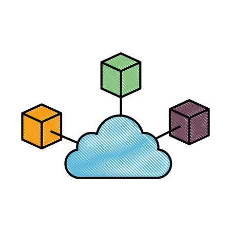 Cubes network isolated icon vector illustration design