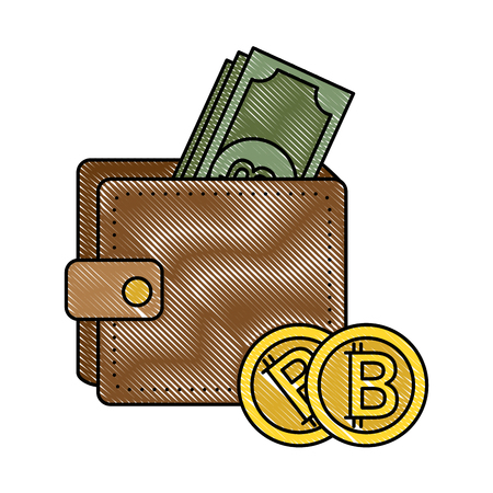 Wallet with bill virtual money icon vector illustration design Illustration