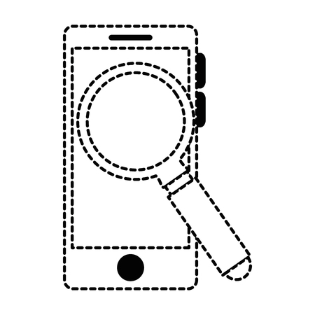 Smartphone with magnifying glass vector illustration design.