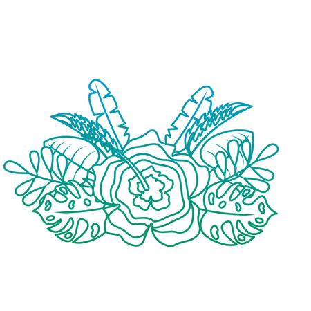 flower natural decoration arrangement leaves tropical vector illustration green color line image Ilustração