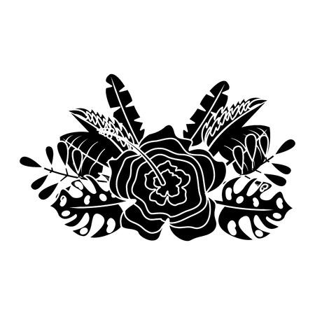 flower natural decoration arrangement leaves tropical vector illustration Ilustração