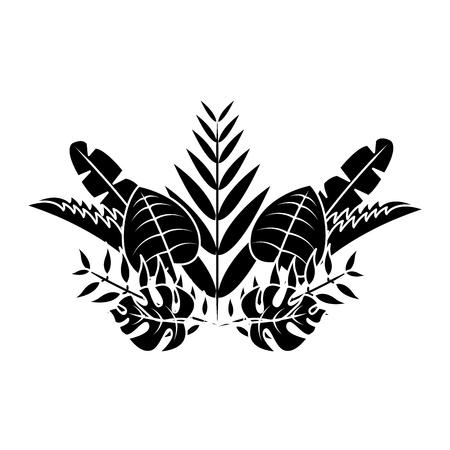 natural decoration arrangement leaves tropical vector illustration