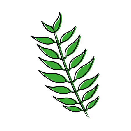 tree branch with green leaves plant natural vector illustration