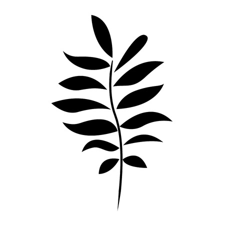 tree branch with leaves plant natural vector illustration