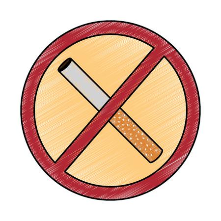 no smoking sign prohibition cigar vector illustration drawing design