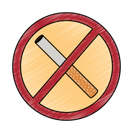 no smoking sign prohibition cigar vector illustration drawing design