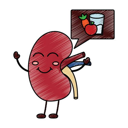 cartoon happy human kidney with speech bubble healthy food vector illustration drawing design Illustration