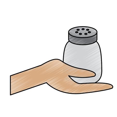 hand holding salt shaker condiment mineral vector illustration drawing design