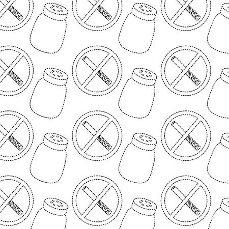 prohibited cigarette and salt shaker unhealthy background vector illustration