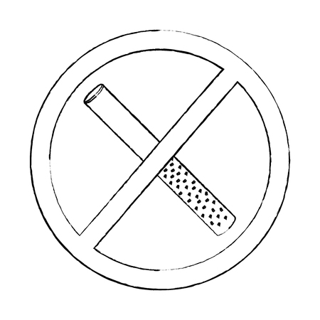 no smoking sign prohibition cigar vector illustration sketch design