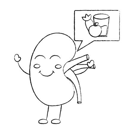 cartoon happy human kidney with speech bubble healthy food vector illustration sketch design
