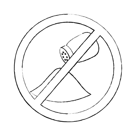 no salt sign prohibition stop symbol vector illustration sketch design