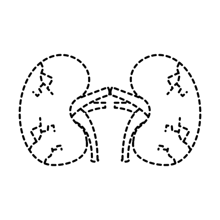 kidneys human unhealthy disease medical anatomic damaged vector illustration sticker design Stock Illustratie