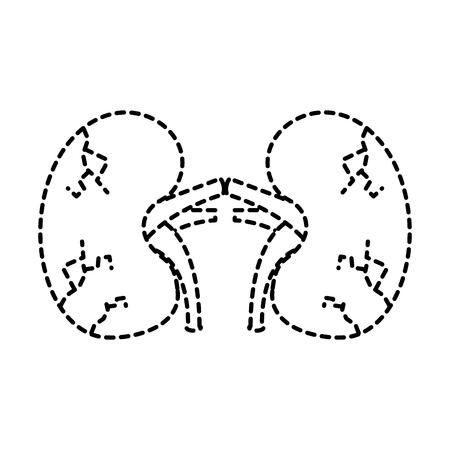 Nieren menschliche ungesunde Krankheit medizinische anatomische beschädigte Zeichen Vektor Aufkleber Design Standard-Bild - 95145840