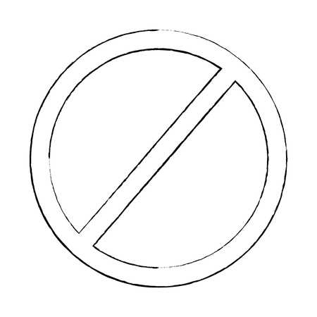 prohibition no symbol red round stop warning sign template vector illustration sketch design Vettoriali