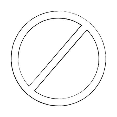 prohibition no symbol red round stop warning sign template vector illustration sketch design Illustration