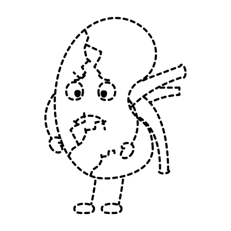 cartoon human kidney sick character vector illustration sticker design