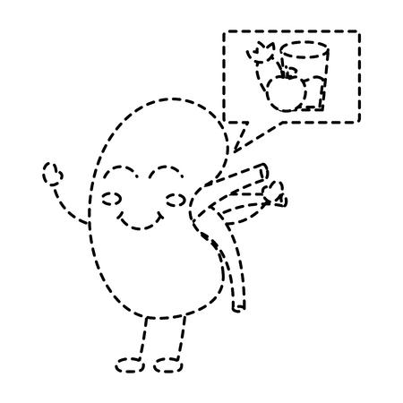 cartoon happy human kidney with speech bubble healthy food vector illustration sticker design