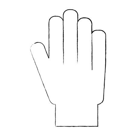 hand showing five finger palm stop vector illustration sketch design