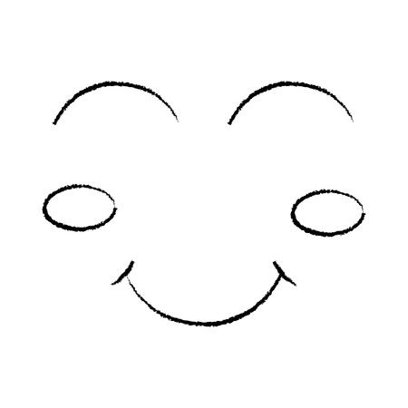 cartoon funny face winking eyes happy vector illustration sketch design Illustration
