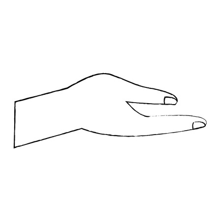 human hand help support gesture vector illustration sketch design
