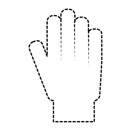 Hand showing five finger palm stop vector illustration sticker design.