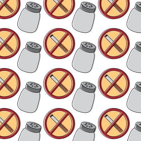 Prohibited cigarette and salt shaker unhealthy background vector illustration Ilustração