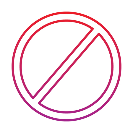 Prohibition no symbol red round stop warning sign template vector illustration red degraded line color