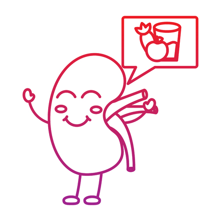 Happy human kidney with speech bubble healthy food vector illustration red line color.