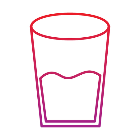 Water glass health beverage liquid pure vector illustration red degraded line color Illustration