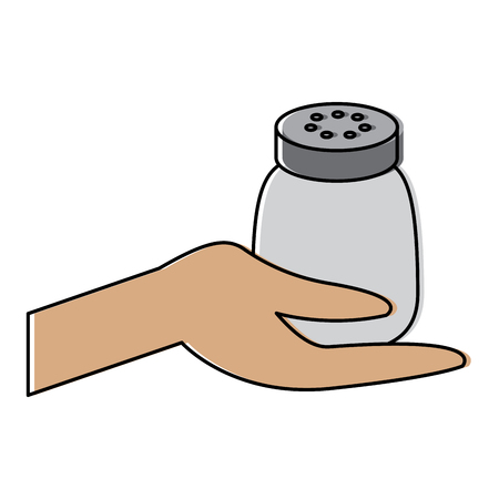 hand holding salt shaker condiment mineral vector illustration