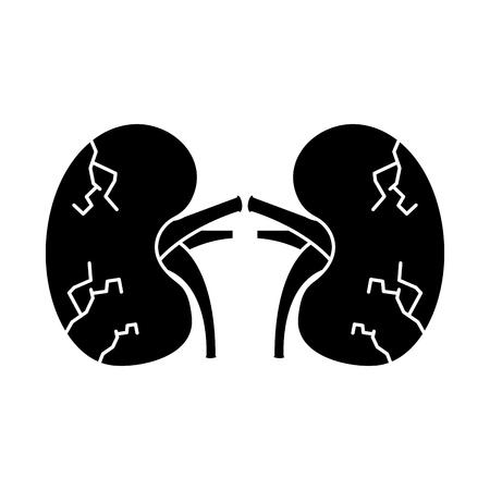 kidneys human unhealthy disease medical anatomic damaged vector illustration  Stock Illustratie