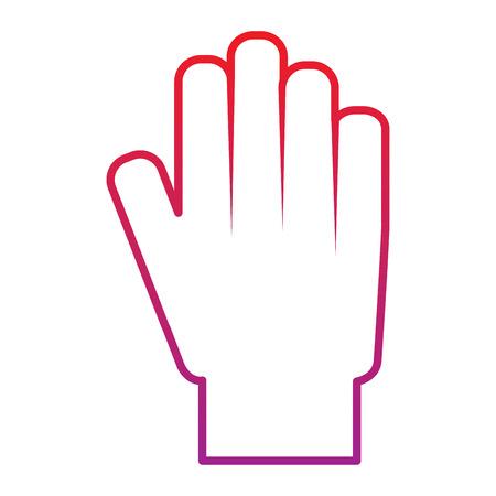 hand showing five finger palm stop vector illustration  red degraded line color