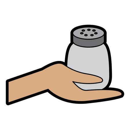 Hand holding salt shaker condiment mineral vector illustration