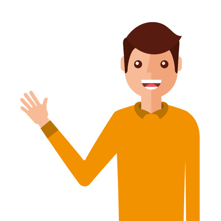 Young man waving happy avatar character illustration design.