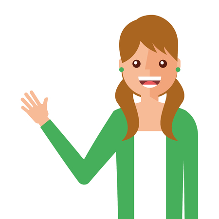 young woman waving happy avatar character vector illustration design