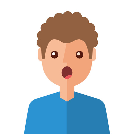 surprised young man avatar character vector illustration design