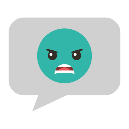 Speech bubble with angry emoji vector illustration design Illustration
