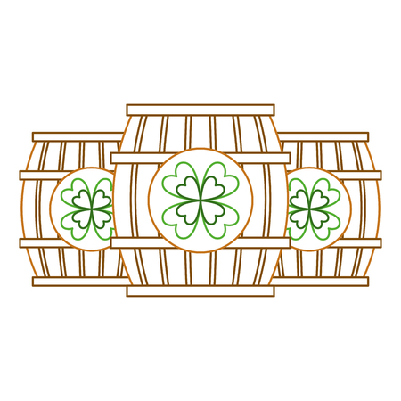 Three wooden barrel drink clover vector illustration line color design