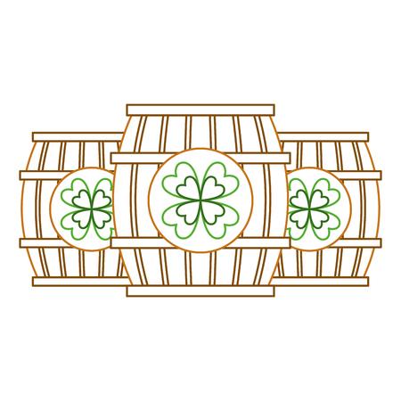 Three wooden barrel drink clover vector illustration line color design Imagens - 95159929