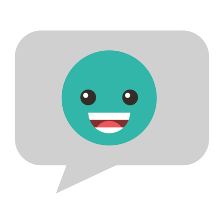 Speech bubble with happy emoji vector illustration design